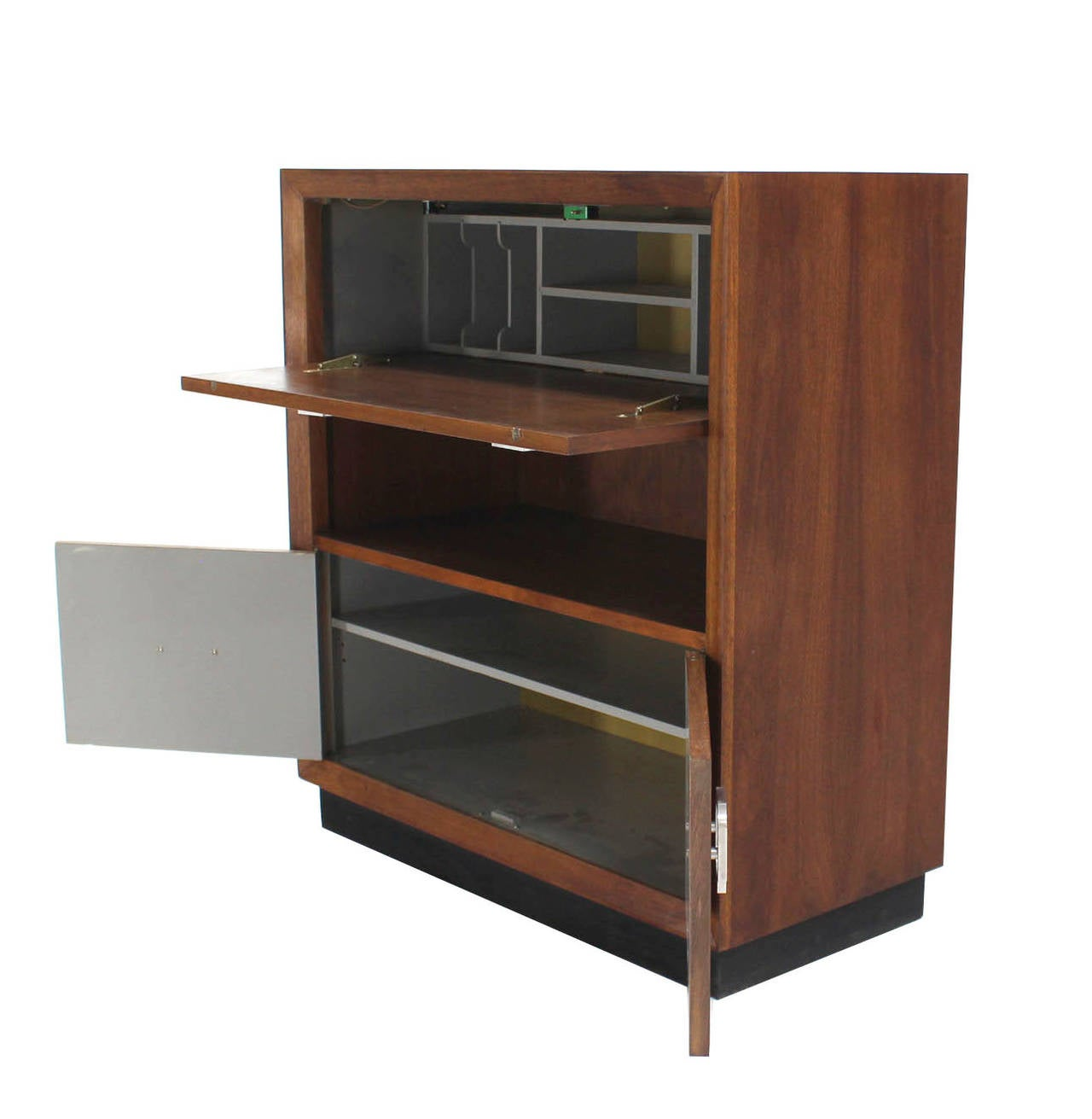 Square and straigh lines Mid Century Danish modern drop down front secretary desk with large Art Deco style Pulls and storage cabinet on the bottom.