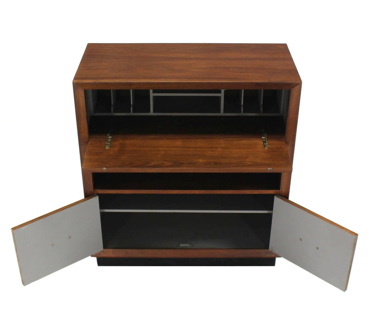 Walnut Mid Century Modern Drop Down Desk Secretary In Excellent Condition For Sale In Elmwood Park, NJ