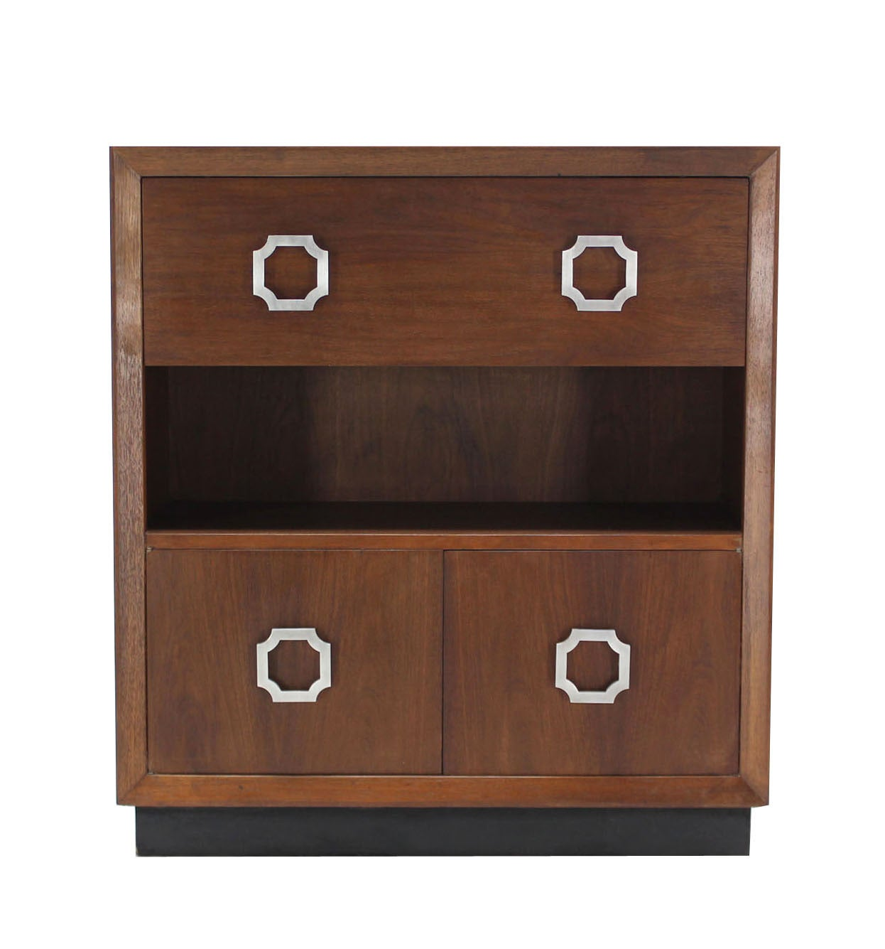 20th Century Walnut Mid Century Modern Drop Down Desk Secretary For Sale