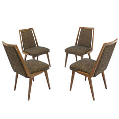 Set of Four Mid-Century Modern Side Dining Chairs New Upholstery
