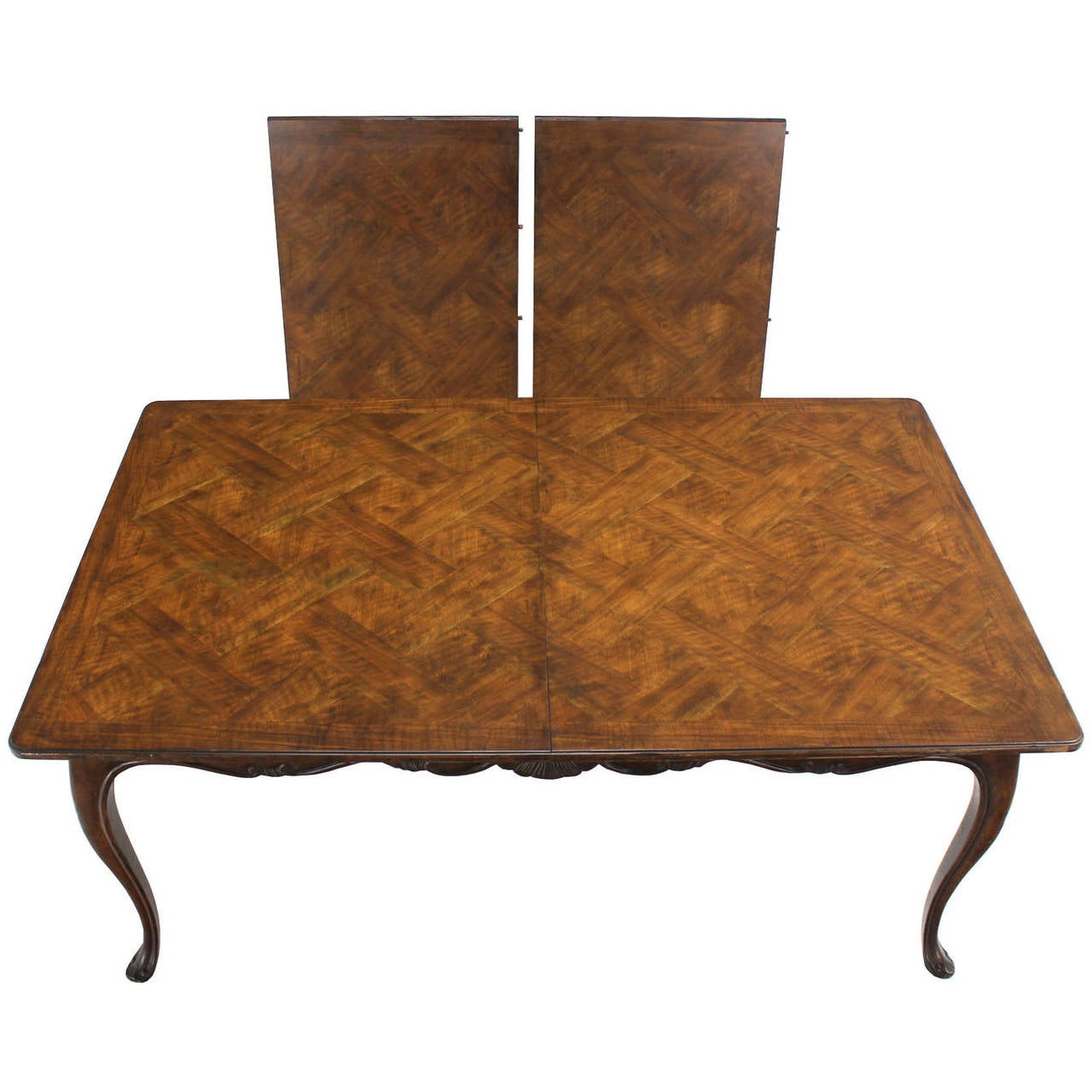 Large baker parquet top dining table two extension boards for Dining table with two leaves