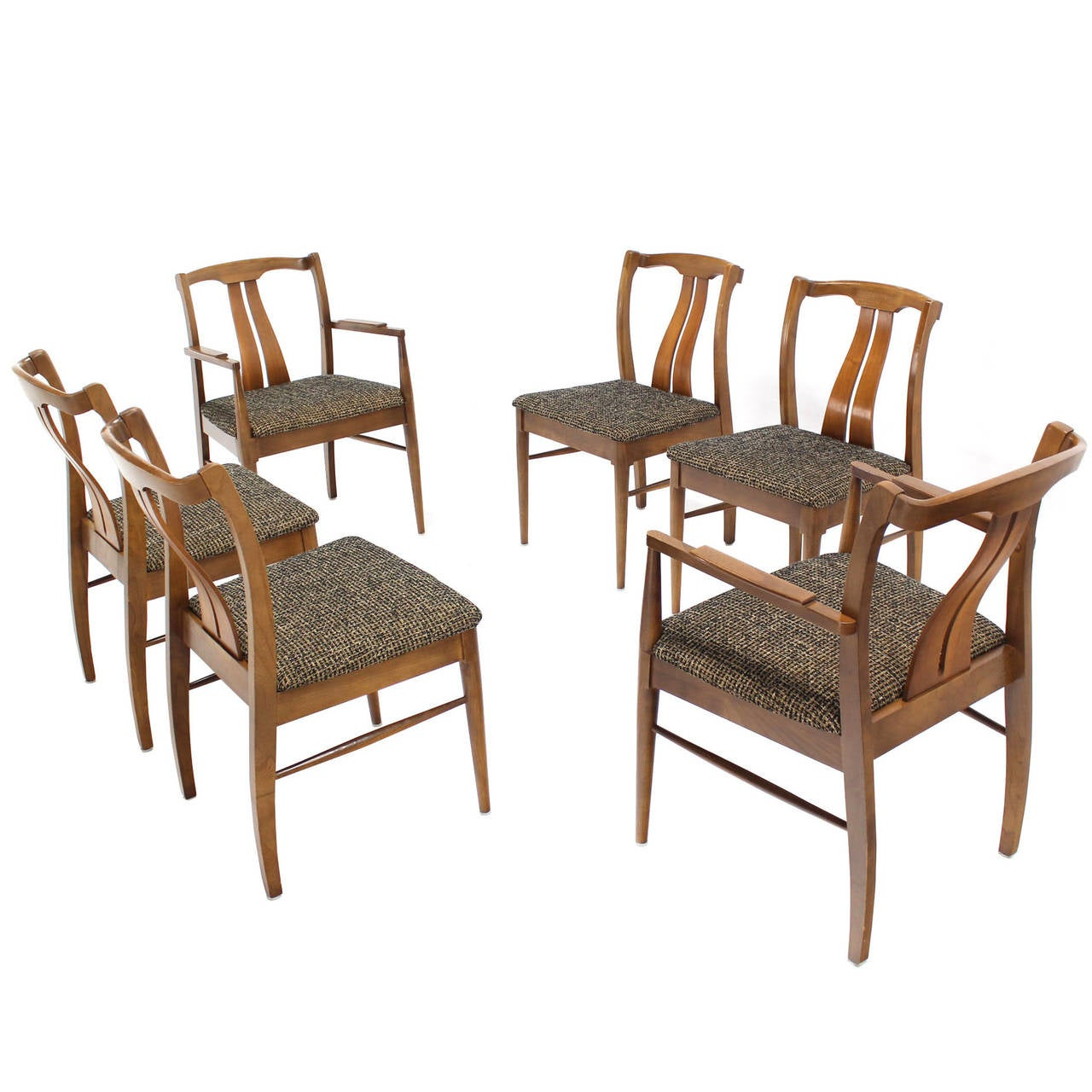 Six Mid-Century Modern Walnut Dining Chairs New Upholstery For Sale