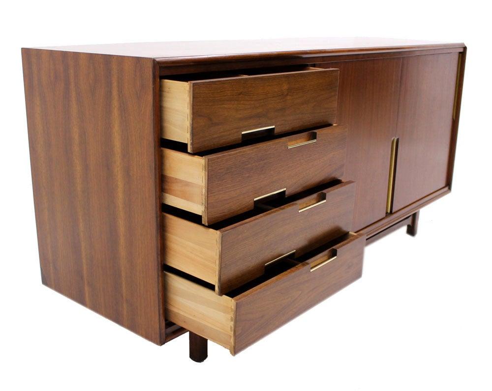 walnut danish mid century modern credenza w sliding doors   - walnut danish mid century modern credenza w sliding doors  drawers brasspull