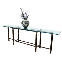 McGuire 8' Long Bamboo Glass Top Console Table
