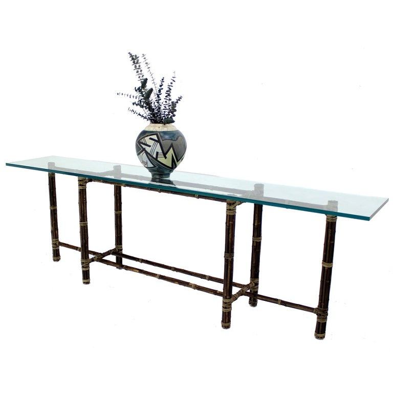 Long Console Table : McGuire 8 Long Bamboo Glass Top Console Table at 1stdibs