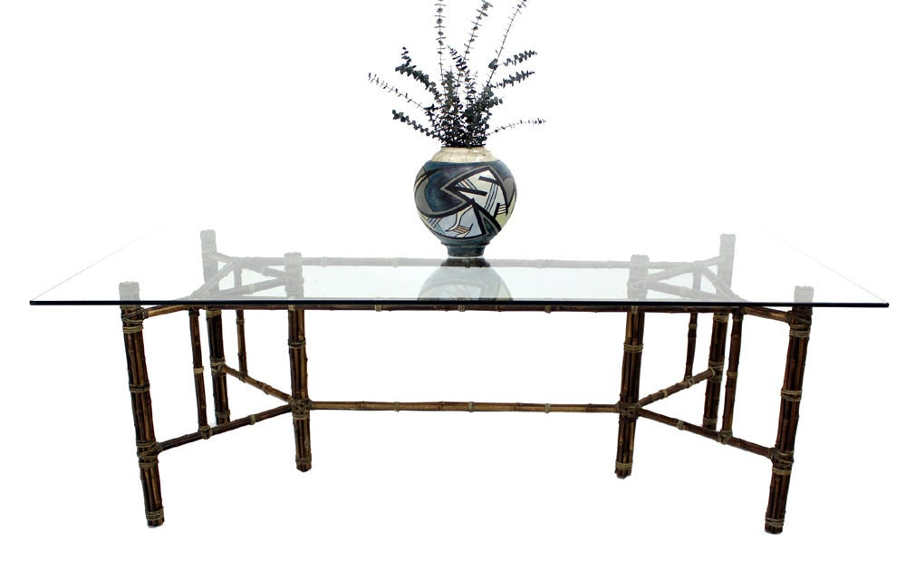 mcguire large bamboo glass top dining conference table