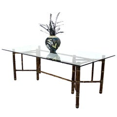 McGuire Large Bamboo Glass Top Dining Conference Table Modern