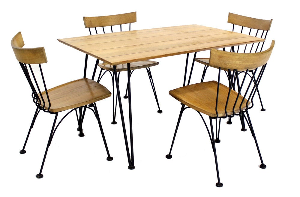 Mid century modern dinette dining table with four chairs for Modern dining table and chairs set