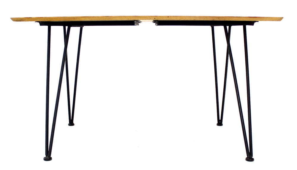 mid century modern dinette dining table with four chairs in iron and