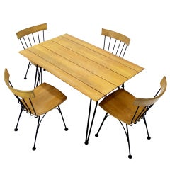 Mid-Century Modern Dinette Dining Table with Four Chairs in Iron and Wood
