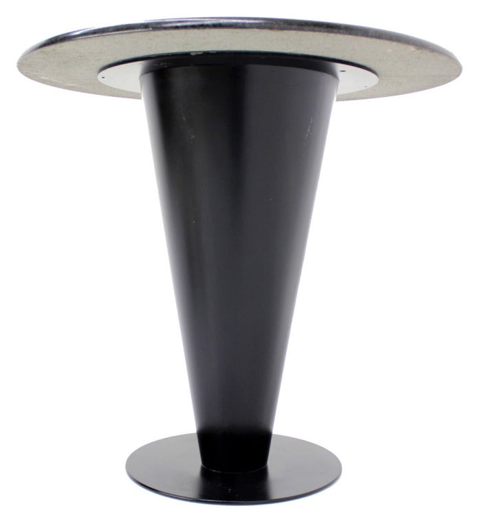 8837 1343841677 3 Grant Park Coffee Apollo Woodworking Black Granite Top And Metal Cone Base Cafe Table At Stdibs