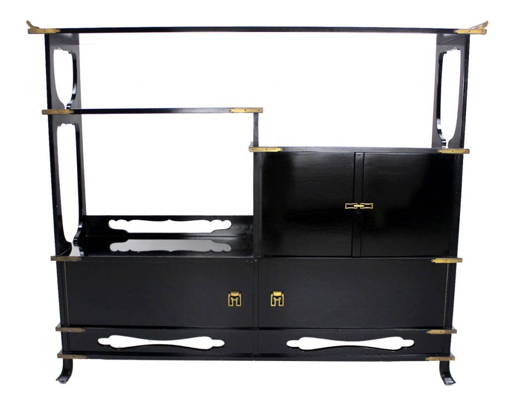 Mid Century Modern Black Lacquer Oriental Etagere Credenza
