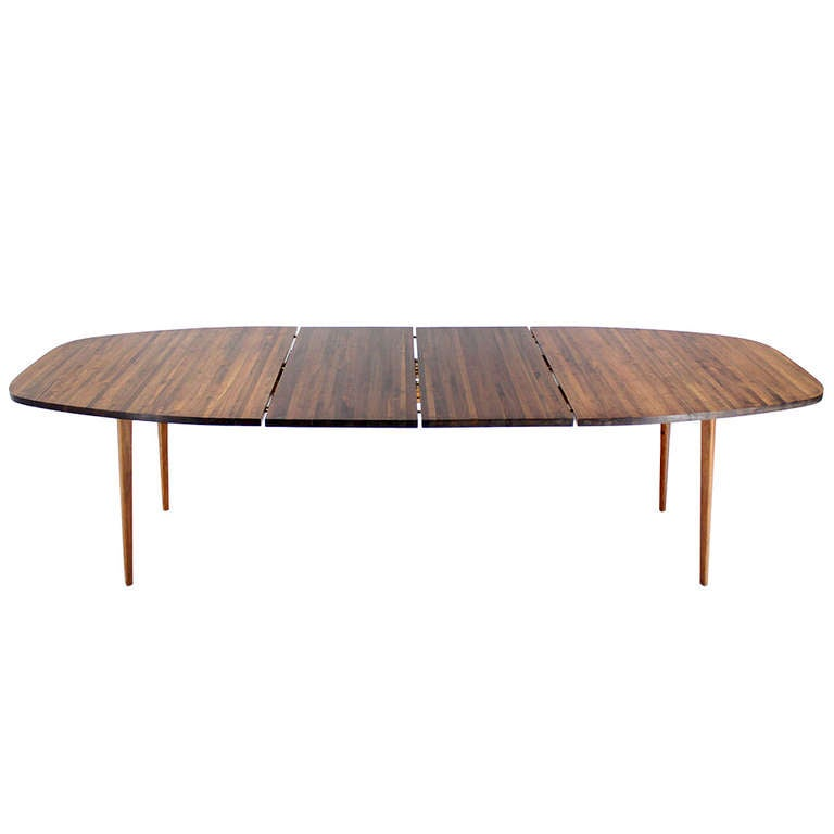 Solid walnut danish mid century modern dining table at 1stdibs for Danish modern dining room table