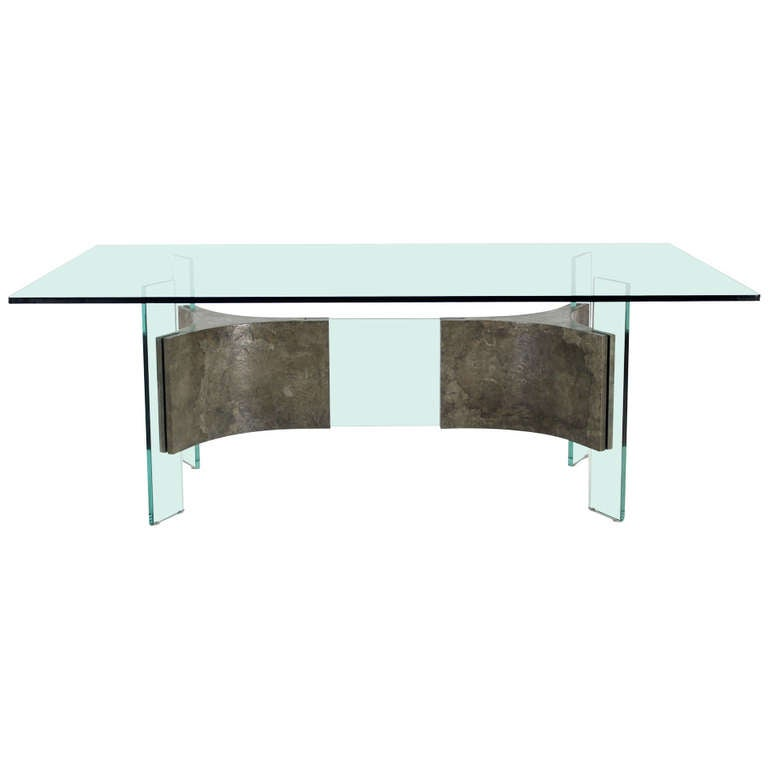 Mid Century Modern Glass Top And Base Dining Or Conference Table