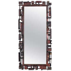 Mid-Century Modern Cityscape Brutalist Style Mirror