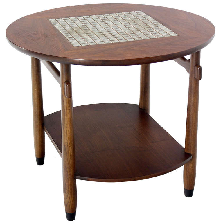 Henry Mid Century Modern Weathered Walnut Round Coffee: Mid-Century Modern Round Walnut Tile-Top End Or Side Table