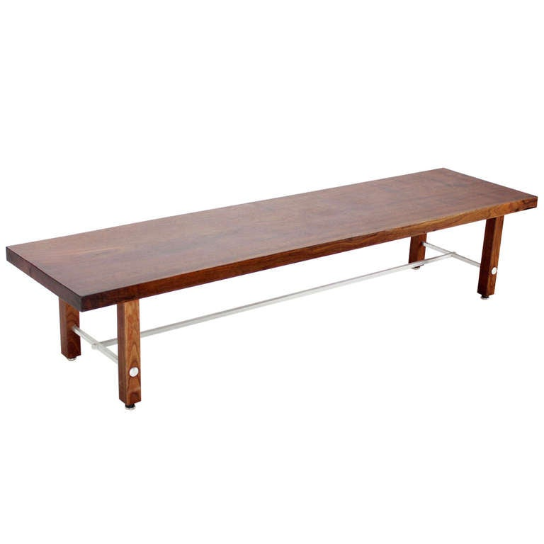 Long Solid Walnut-Top Coffee Table or Bench