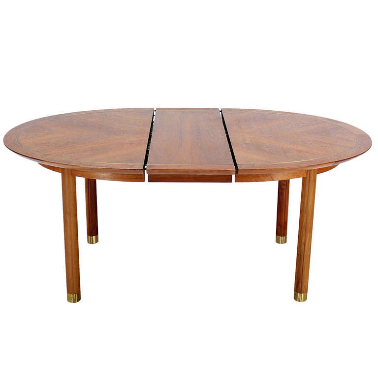 baker mid century modern walnut oval dining table with one On oval dining room table with leaf