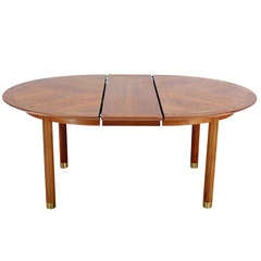 Baker Mid-Century Modern Walnut Oval Dining Table with One Leaf