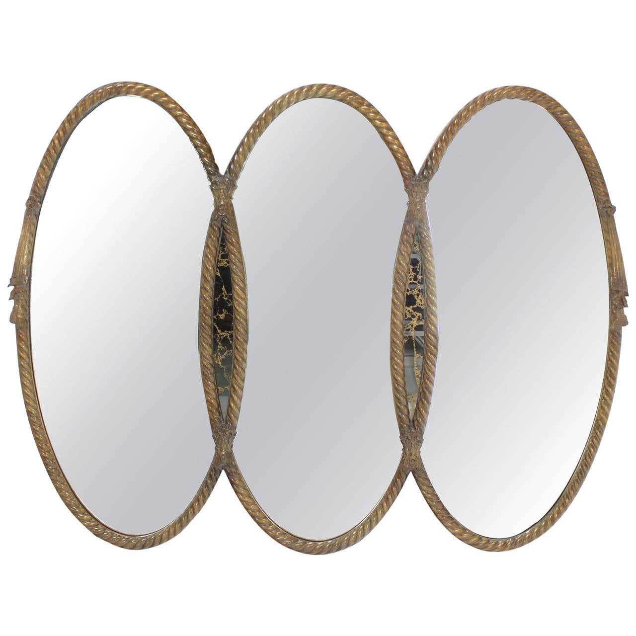 Mid Century Modern Triple Oval Gold Mirror With Rope Edge