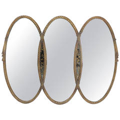 Mid-Century Modern Triple Oval Gold Mirror with Rope Edge Frame