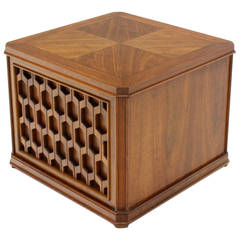 Heavy Pierce Carved Honeycomb One Door Cube Shape Side Table