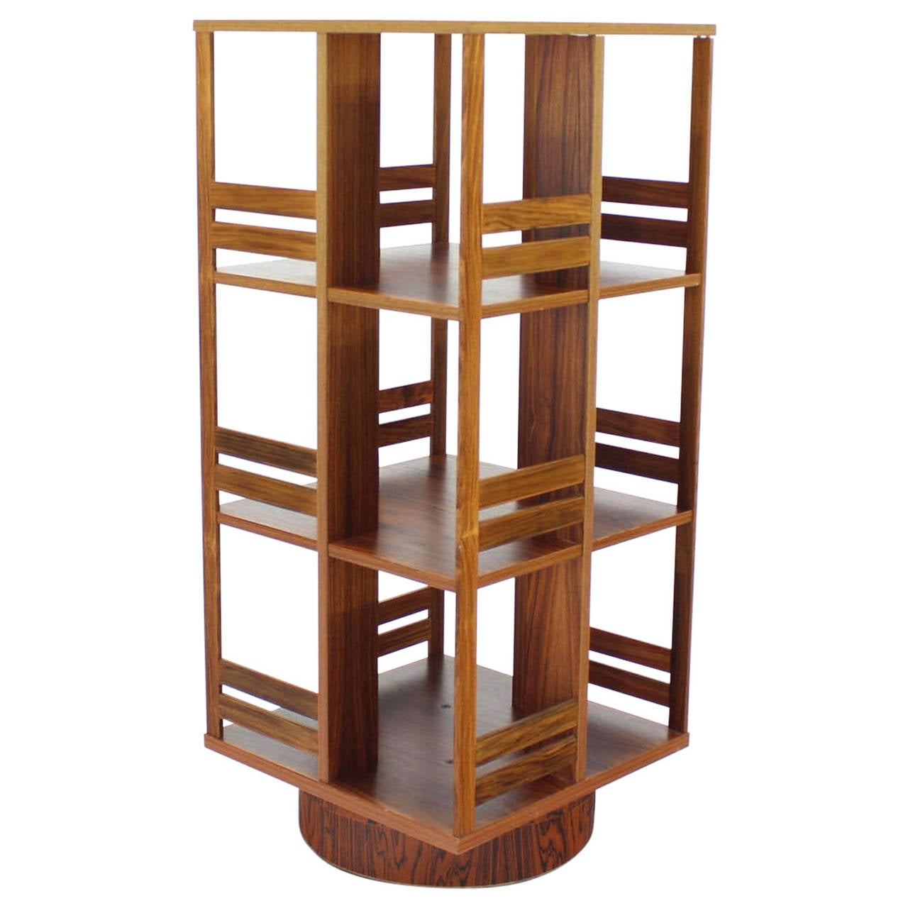 Danish Moden Rosewood Revolving Bookcase Record Cabinet