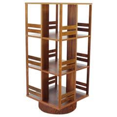 Danish Moden Rosewood Revolving Bookcase Record Cabinet Shelf