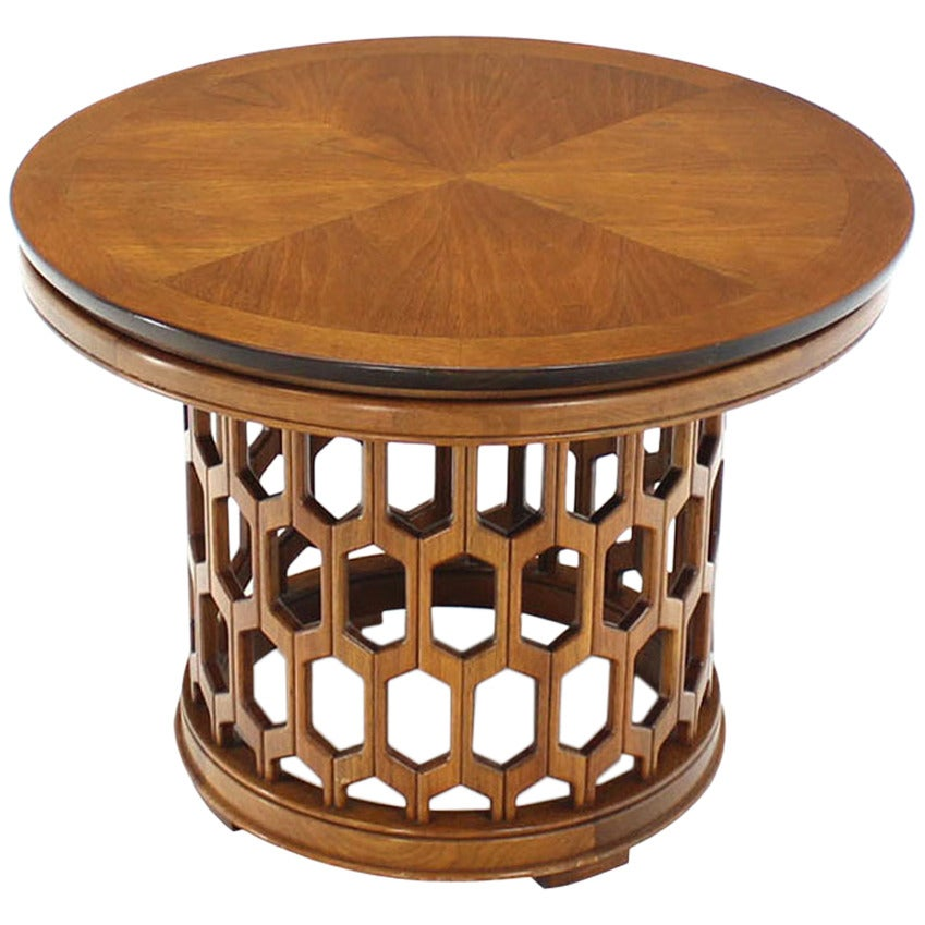 Pierce carved honeycomb pattern base side or coffee table - Archives departementales 33 tables decennales ...
