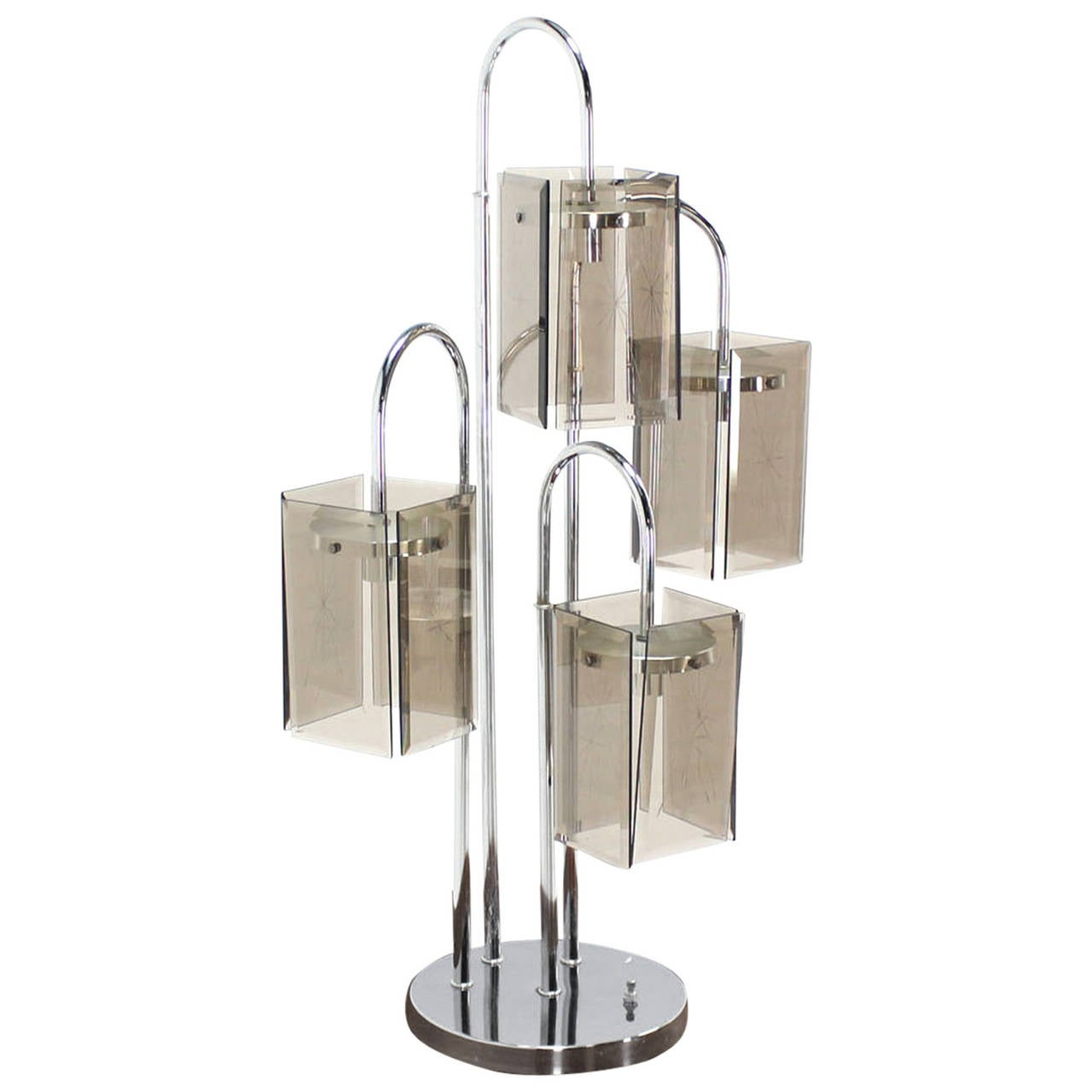 Chrome And Smokes Glass Shade Mid Century Modern Table Lamp