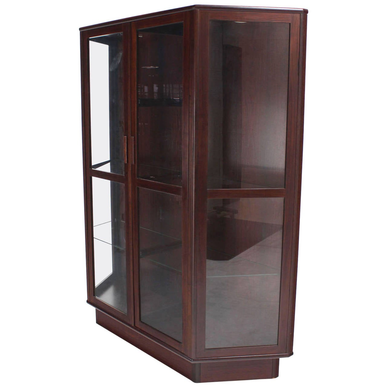 Pair of vintage danish rosewood and brushed steel side cabinets ref - Trapezoid Shape Danish Modern Rosewood China Curio Cabinet 1