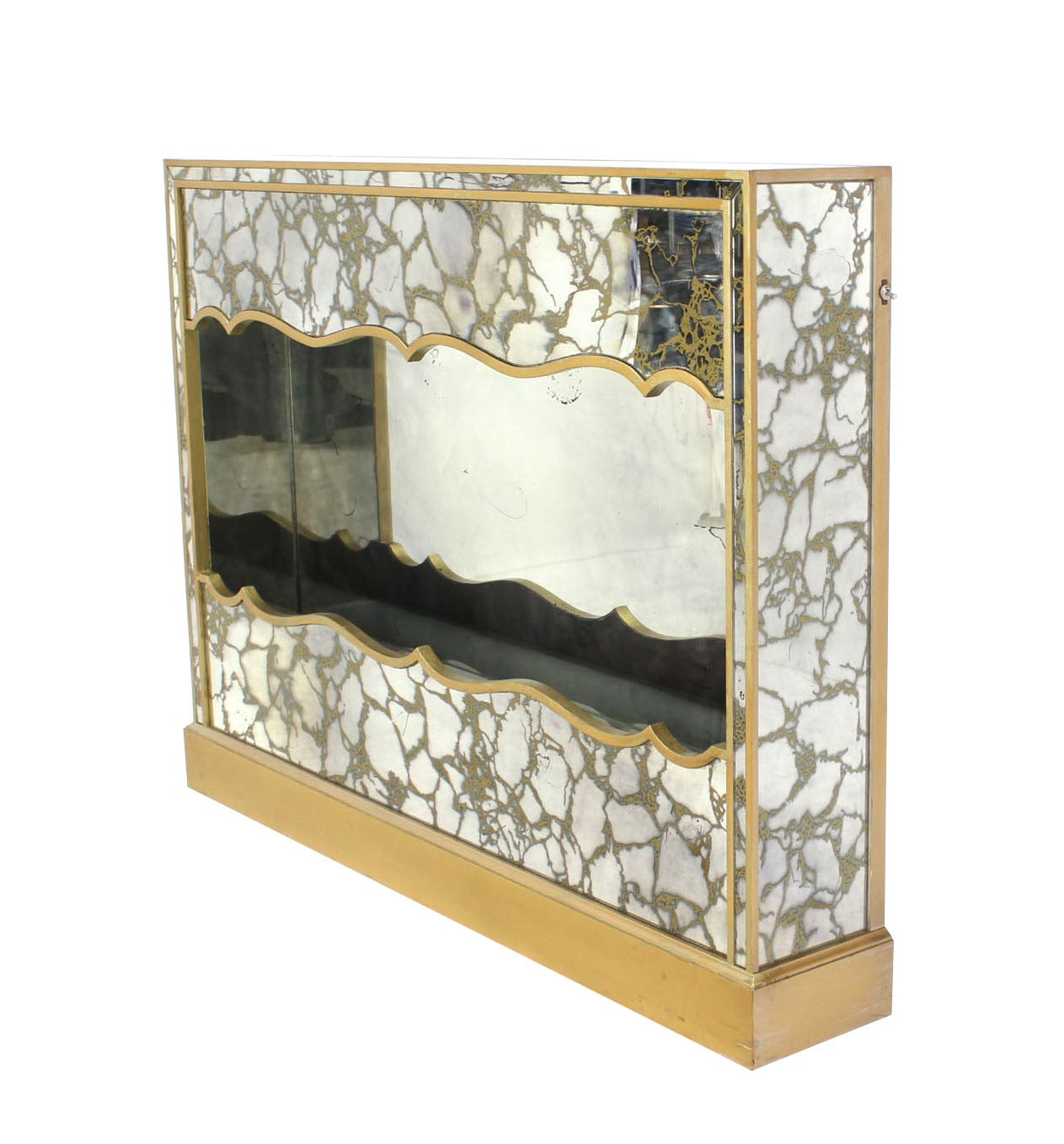Vintage Smoked Mirror Shadow Box With Light For Sale At