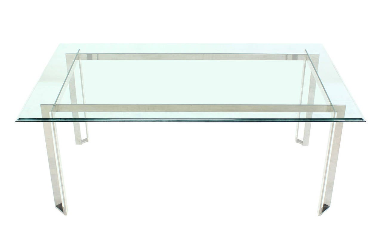 Polished Stainless Steel And Thick Glass Top Dining Room Table At 1stdibs