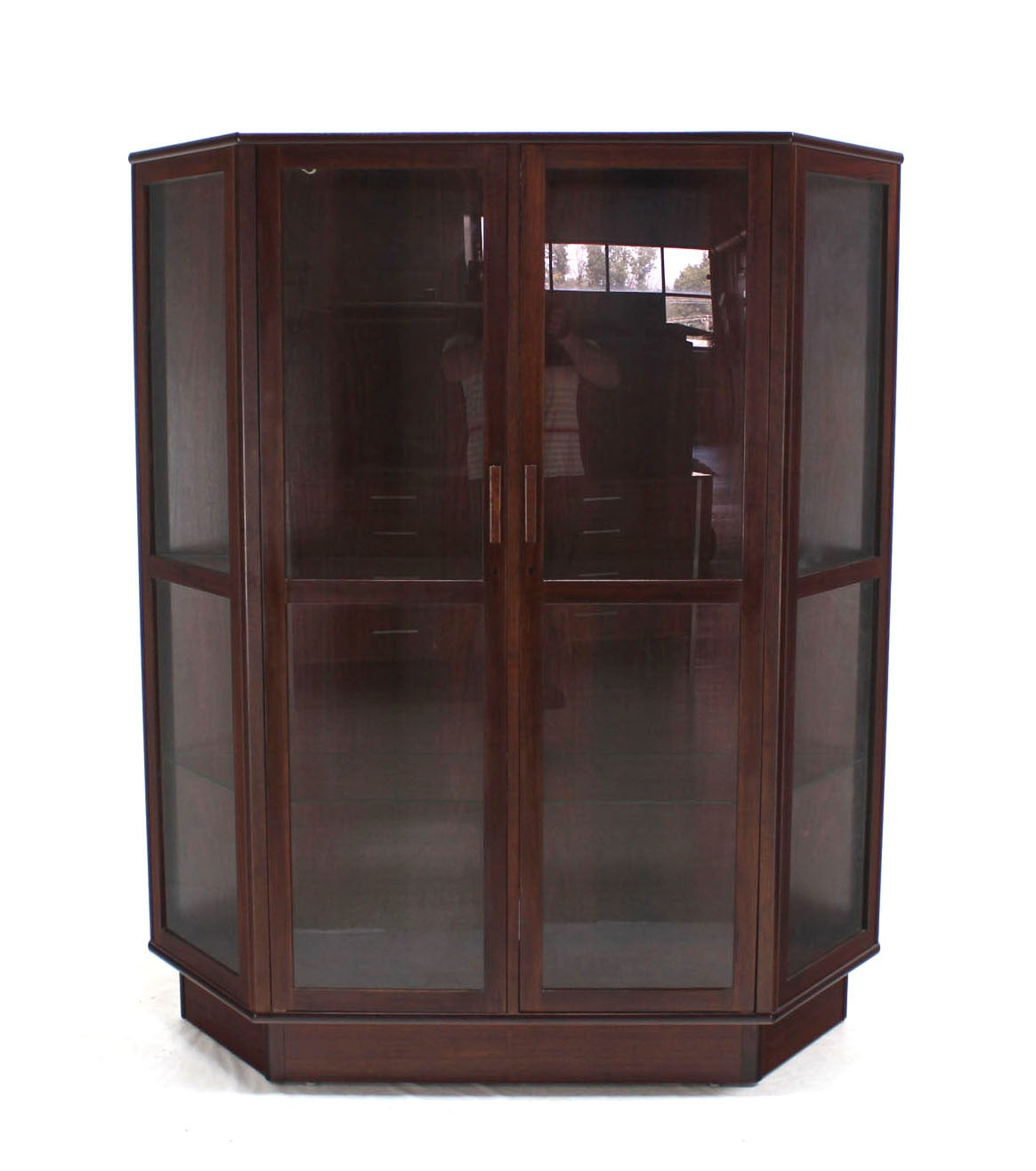 Mid Century Modern Trapezoid Shape Danish Modern Rosewood China Curio  Cabinet For Sale