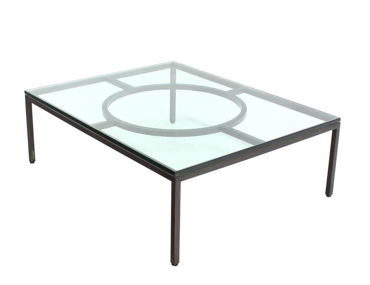 Extra large wide rectangle bronzed frame modern coffee table 3 4 thick glass for sale at 1stdibs Large glass coffee table