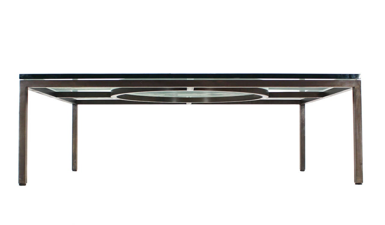 Extra large wide rectangle bronzed frame modern coffee for Large contemporary coffee tables