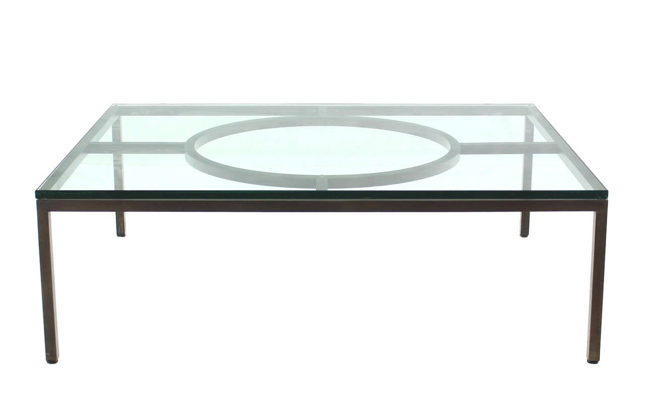 Extra large wide rectangle bronzed frame modern coffee table 3 4 thick glass for sale at 1stdibs Wide coffee table