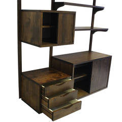 Danish Mid-Century Modern Walnut Wall Unit Cabinets Drawers Shelves
