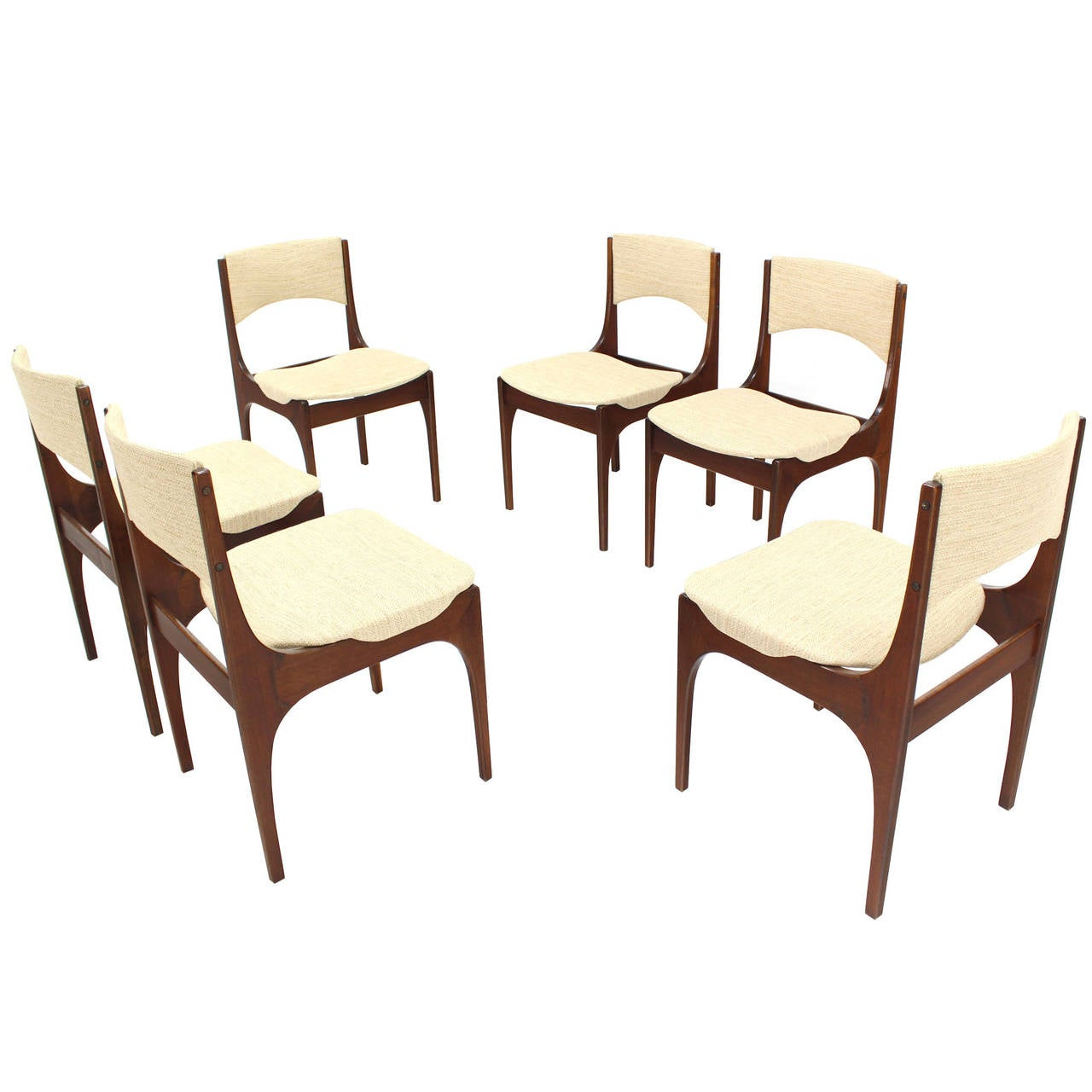 Set of Six Italian Modern Dining Chairs with New Upholstery For Sale