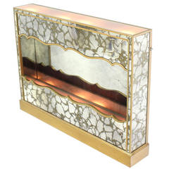 Vintage Smoked Mirror Shadow Box with Light