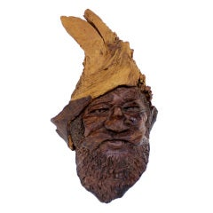 Burl Wood Carving of an Elf or Gnome