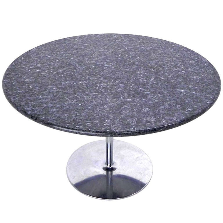 Granite top tulip base dining or center table for sale at 1stdibs