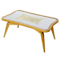 Mid-Century Modern Art Deco Style, Etched Glass Coffee Table