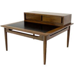 Oversize Large Mid-Century Modern Step End Coffee Table w/ Two Drawers