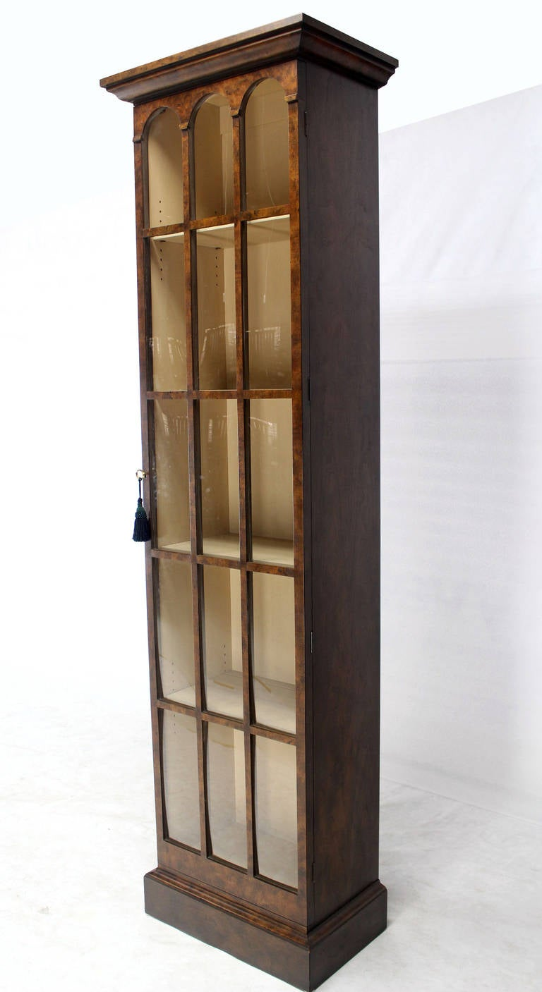 Tall Narrow Crown Glass Bookcase Cabinet High Quality At