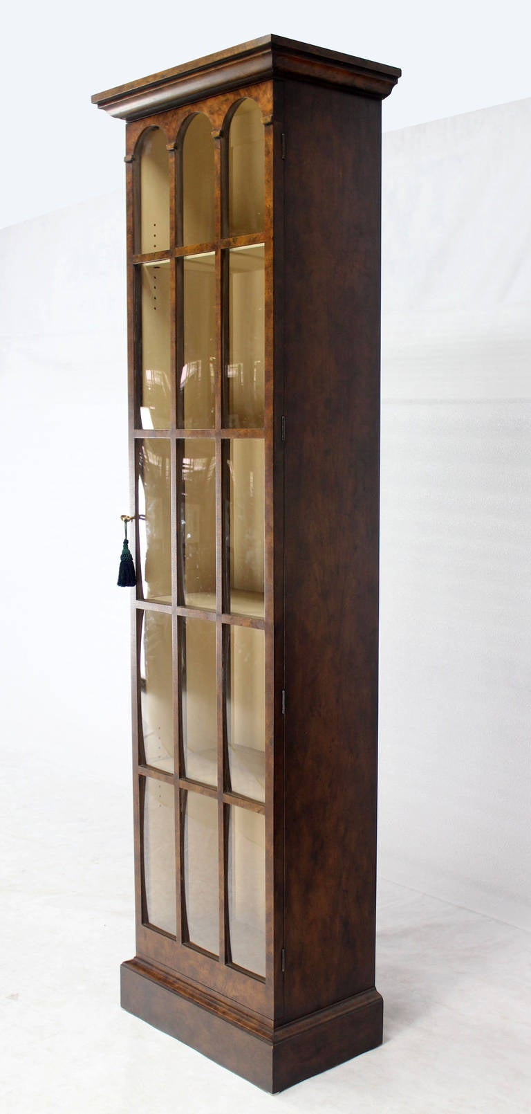 Tall Narrow, Crown Glass Bookcase Cabinet High Quality at 1stdibs