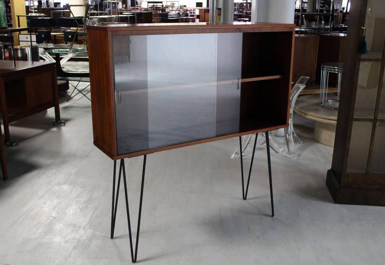 midcentury modern walnut bookcase on tall hairpin legs 3