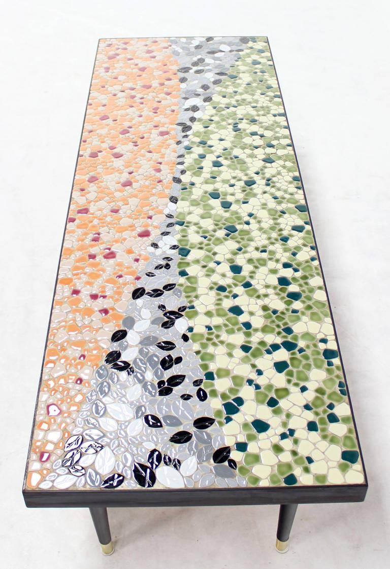 Ordinaire Ebonized Mid Century Modern Art Mosaic Top Long Rectangular Table For Sale