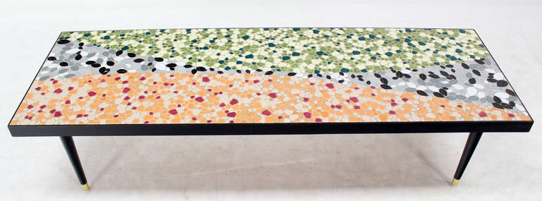 Mid Century Modern Art Mosaic Top Long Rectangular Table 2