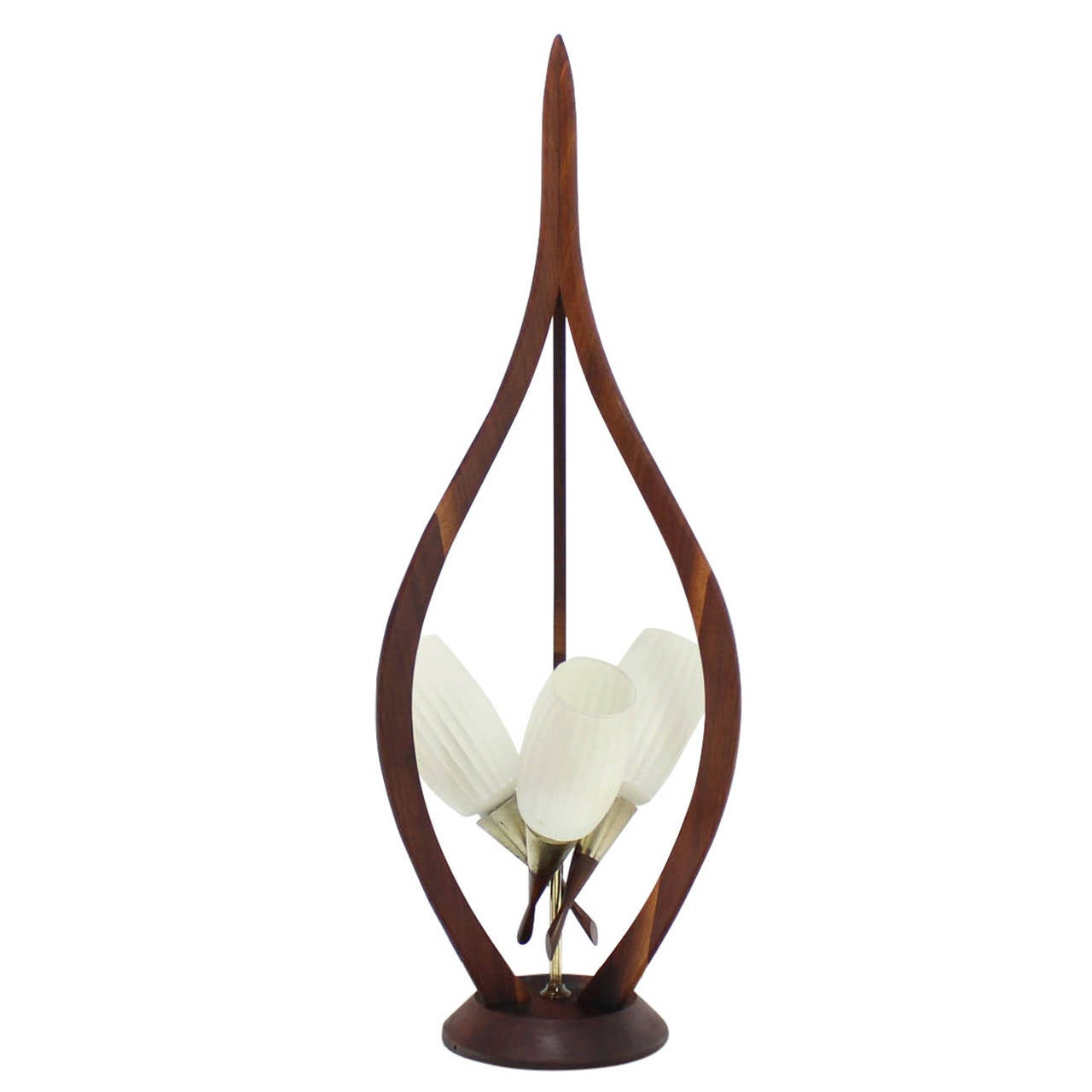 Danish Modern Walnut Brass And Glass Table Lamp For Sale At 1stdibs